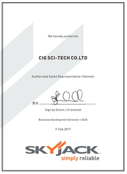 Giấy chứng nhận đại lý độc quyền Skyjack - CIG