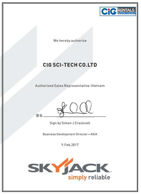 Chứng nhận đại lý độc quyền phân phối xe nâng người Skyjack của CIG