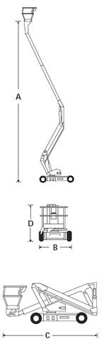 Biểu đồ nâng xe Snorkel A38E