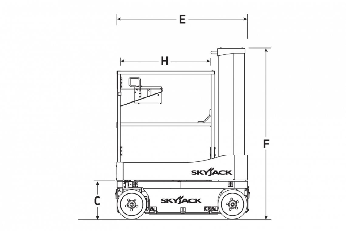 Biểu đồ kích thước mặt bên của xe nâng người Skyjack SJ 16