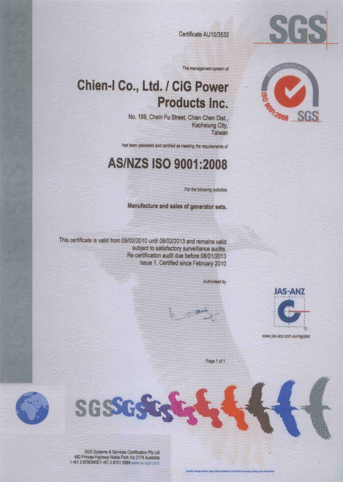 Chứng nhận ISO 9001:2008 về xe nâng người