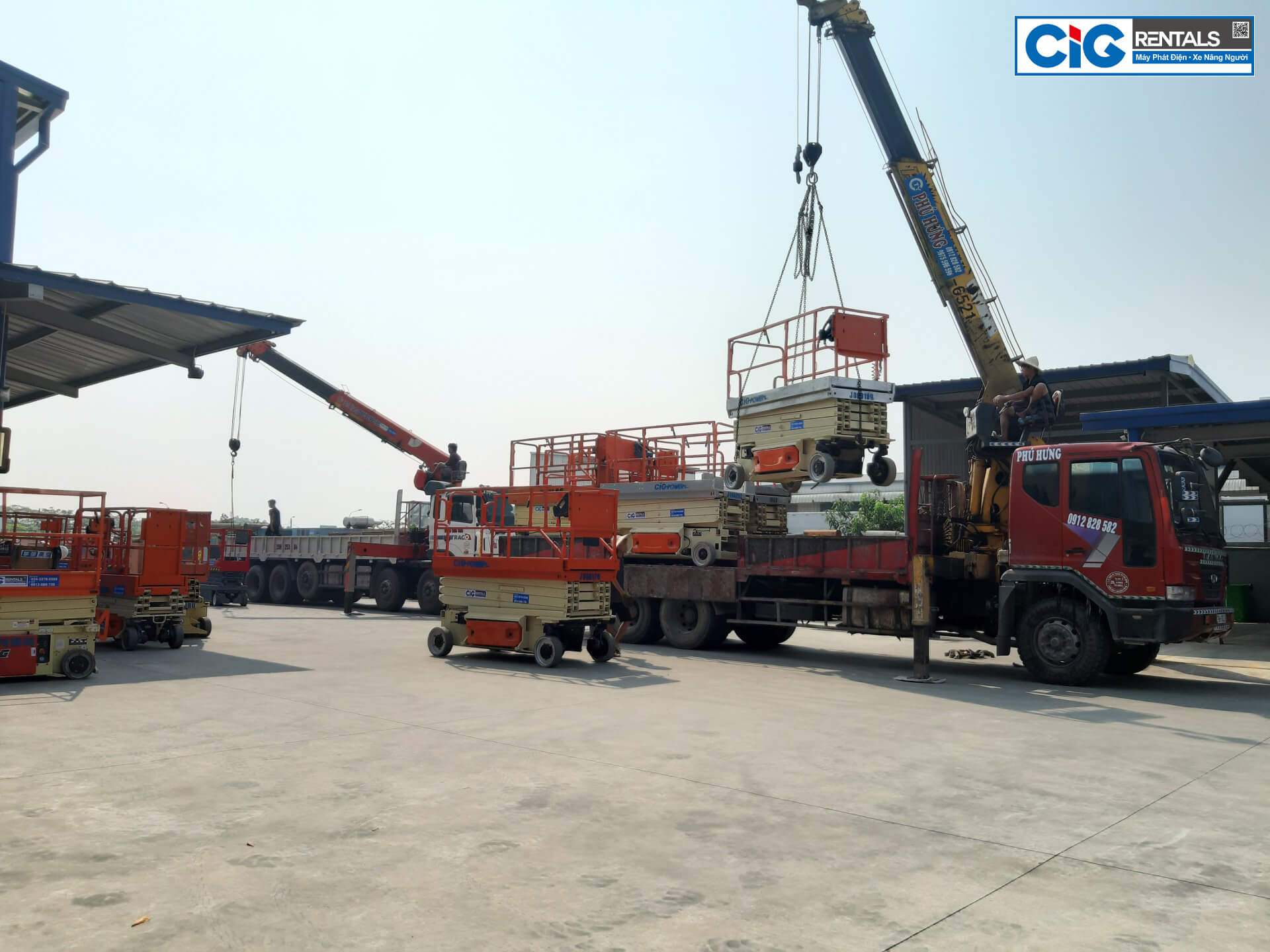 CIG tập kết xe nâng người tại Bắc Ninh