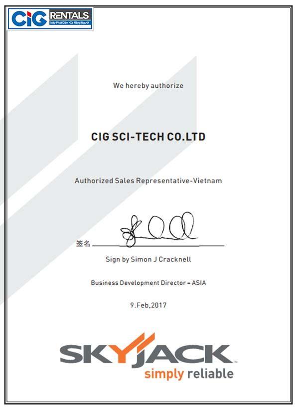 Chứng nhận đại lý độc quyền của Skyjack, Canada
