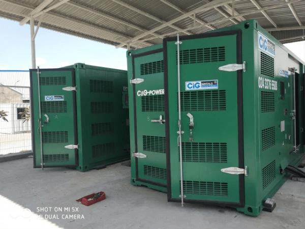 Tổ máy phát điện của CIG Power, sử dụng động cơ Cummins 1000 KVA, có vỏ chống ồn