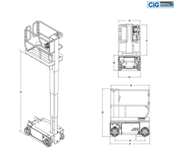 Biểu đồ xe thang nâng người cắt kéo JLG 1532R