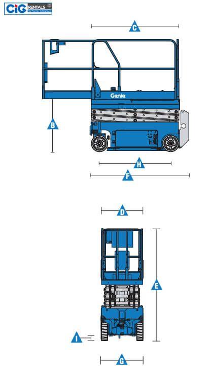 Biểu đồ thang nâng ngườiCắt kéo Genie GS-1530