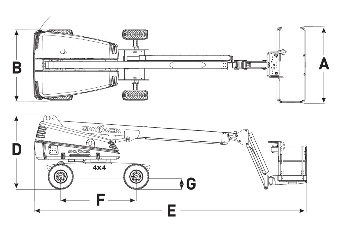 Biểu đồ xe nâng người 16m Skyjack SJ45T