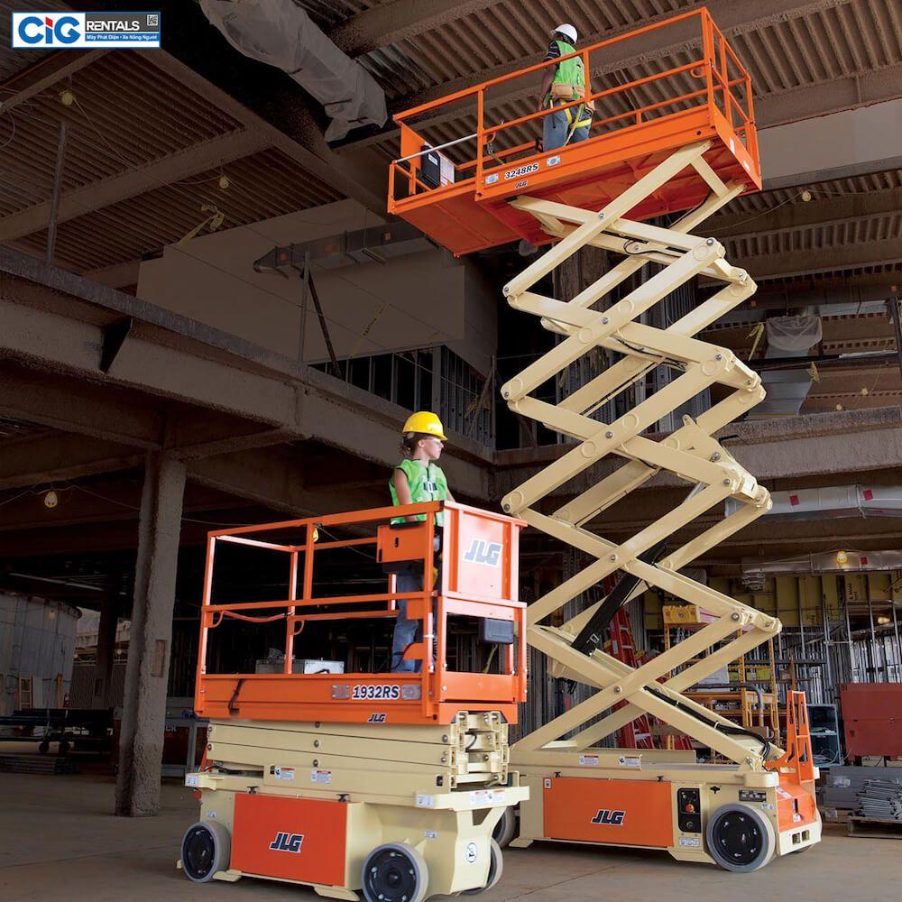Ứng dụng xe thang nâng người 6m dạng cắt kéo